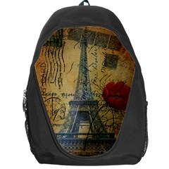Vintage Stamps Postage Poppy Flower Floral Eiffel Tower Vintage Paris Backpack Bag