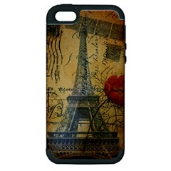 Vintage Stamps Postage Poppy Flower Floral Eiffel Tower Vintage Paris Apple Iphone 5 Hardshell Case (pc+silicone)
