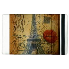Vintage Stamps Postage Poppy Flower Floral Eiffel Tower Vintage Paris Apple iPad 3/4 Flip Case