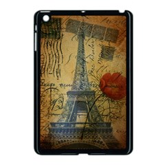 Vintage Stamps Postage Poppy Flower Floral Eiffel Tower Vintage Paris Apple iPad Mini Case (Black)