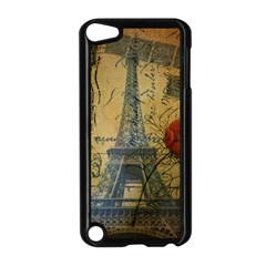 Vintage Stamps Postage Poppy Flower Floral Eiffel Tower Vintage Paris Apple iPod Touch 5 Case (Black)