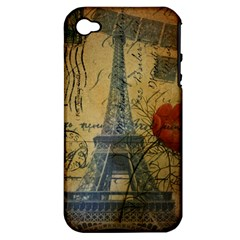 Vintage Stamps Postage Poppy Flower Floral Eiffel Tower Vintage Paris Apple iPhone 4/4S Hardshell Case (PC+Silicone)