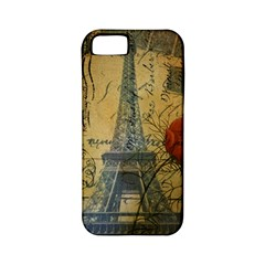 Vintage Stamps Postage Poppy Flower Floral Eiffel Tower Vintage Paris Apple iPhone 5 Classic Hardshell Case (PC+Silicone)