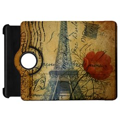 Vintage Stamps Postage Poppy Flower Floral Eiffel Tower Vintage Paris Kindle Fire HD 7  Flip 360 Case