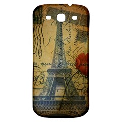 Vintage Stamps Postage Poppy Flower Floral Eiffel Tower Vintage Paris Samsung Galaxy S3 S Iii Classic Hardshell Back Case