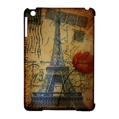 Vintage Stamps Postage Poppy Flower Floral Eiffel Tower Vintage Paris Apple iPad Mini Hardshell Case (Compatible with Smart Cover)