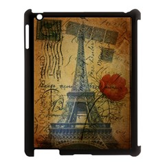 Vintage Stamps Postage Poppy Flower Floral Eiffel Tower Vintage Paris Apple iPad 3/4 Case (Black)