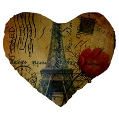 Vintage Stamps Postage Poppy Flower Floral Eiffel Tower Vintage Paris 19  Premium Heart Shape Cushion