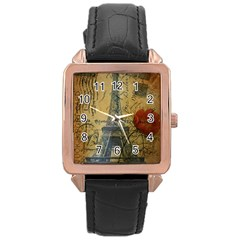 Vintage Stamps Postage Poppy Flower Floral Eiffel Tower Vintage Paris Rose Gold Leather Watch