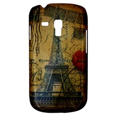 Vintage Stamps Postage Poppy Flower Floral Eiffel Tower Vintage Paris Samsung Galaxy S3 MINI I8190 Hardshell Case