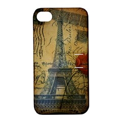 Vintage Stamps Postage Poppy Flower Floral Eiffel Tower Vintage Paris Apple iPhone 4/4S Hardshell Case with Stand
