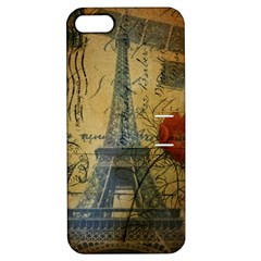 Vintage Stamps Postage Poppy Flower Floral Eiffel Tower Vintage Paris Apple iPhone 5 Hardshell Case with Stand