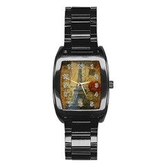 Vintage Stamps Postage Poppy Flower Floral Eiffel Tower Vintage Paris Men s Stainless Steel Barrel Analog Watch