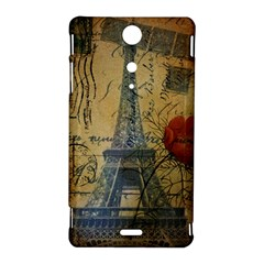 Vintage Stamps Postage Poppy Flower Floral Eiffel Tower Vintage Paris Sony Xperia TX Hardshell Case