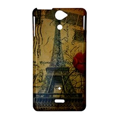 Vintage Stamps Postage Poppy Flower Floral Eiffel Tower Vintage Paris Sony Xperia V Hardshell Case