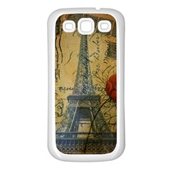 Vintage Stamps Postage Poppy Flower Floral Eiffel Tower Vintage Paris Samsung Galaxy S3 Back Case (white)