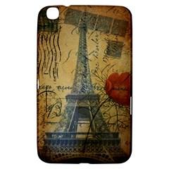 Vintage Stamps Postage Poppy Flower Floral Eiffel Tower Vintage Paris Samsung Galaxy Tab 3 (8 ) T3100 Hardshell Case