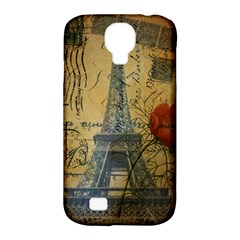 Vintage Stamps Postage Poppy Flower Floral Eiffel Tower Vintage Paris Samsung Galaxy S4 Classic Hardshell Case (pc+silicone)