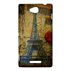 Vintage Stamps Postage Poppy Flower Floral Eiffel Tower Vintage Paris Sony Xperia C (S39h) Hardshell Case