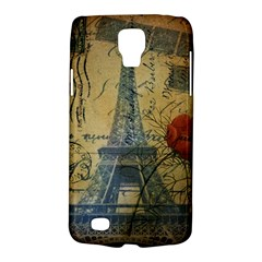 Vintage Stamps Postage Poppy Flower Floral Eiffel Tower Vintage Paris Samsung Galaxy S4 Active (I9295) Hardshell Case