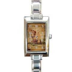 Vintage Newspaper Print Pin Up Girl Paris Eiffel Tower Rectangular Italian Charm Watch