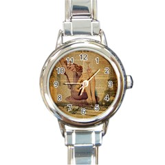 Vintage Newspaper Print Pin Up Girl Paris Eiffel Tower Round Italian Charm Watch