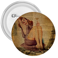 Vintage Newspaper Print Pin Up Girl Paris Eiffel Tower 3  Button