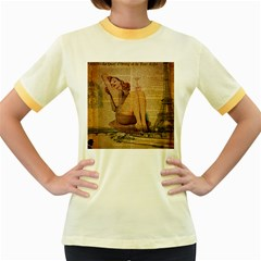 Vintage Newspaper Print Pin Up Girl Paris Eiffel Tower Womens  Ringer T Shirt (colored)