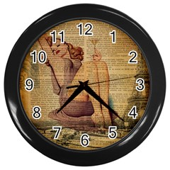 Vintage Newspaper Print Pin Up Girl Paris Eiffel Tower Wall Clock (Black)