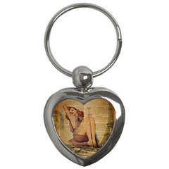 Vintage Newspaper Print Pin Up Girl Paris Eiffel Tower Key Chain (heart)