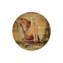 Vintage Newspaper Print Pin Up Girl Paris Eiffel Tower Magnet 3  (Round)