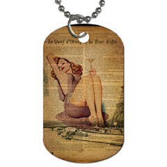 Vintage Newspaper Print Pin Up Girl Paris Eiffel Tower Dog Tag (One Sided)