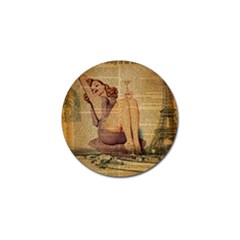 Vintage Newspaper Print Pin Up Girl Paris Eiffel Tower Golf Ball Marker 4 Pack