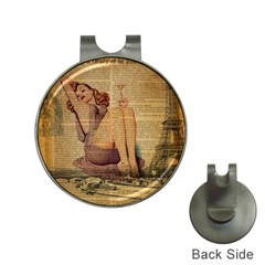 Vintage Newspaper Print Pin Up Girl Paris Eiffel Tower Hat Clip With Golf Ball Marker