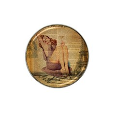 Vintage Newspaper Print Pin Up Girl Paris Eiffel Tower Golf Ball Marker 4 Pack (for Hat Clip)