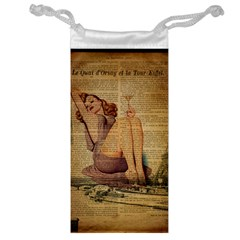 Vintage Newspaper Print Pin Up Girl Paris Eiffel Tower Jewelry Bag