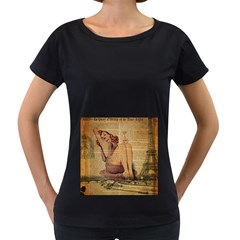 Vintage Newspaper Print Pin Up Girl Paris Eiffel Tower Womens' Maternity T-shirt (Black)