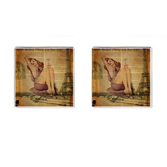 Vintage Newspaper Print Pin Up Girl Paris Eiffel Tower Cufflinks (Square)