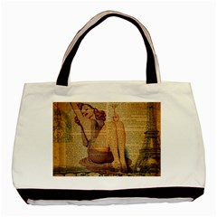 Vintage Newspaper Print Pin Up Girl Paris Eiffel Tower Classic Tote Bag