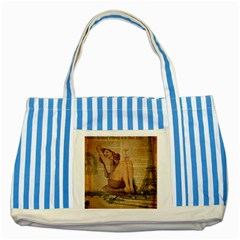 Vintage Newspaper Print Pin Up Girl Paris Eiffel Tower Blue Striped Tote Bag