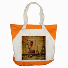 Vintage Newspaper Print Pin Up Girl Paris Eiffel Tower Accent Tote Bag