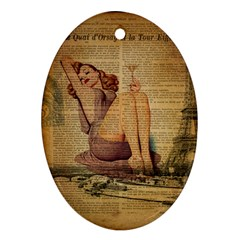 Vintage Newspaper Print Pin Up Girl Paris Eiffel Tower Oval Ornament (Two Sides)