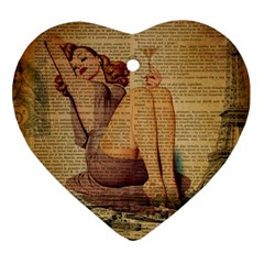 Vintage Newspaper Print Pin Up Girl Paris Eiffel Tower Heart Ornament (two Sides)