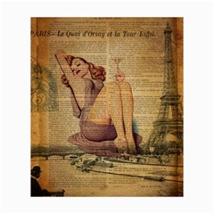 Vintage Newspaper Print Pin Up Girl Paris Eiffel Tower Canvas 20  x 24  (Unframed)