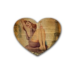 Vintage Newspaper Print Pin Up Girl Paris Eiffel Tower Drink Coasters (Heart)