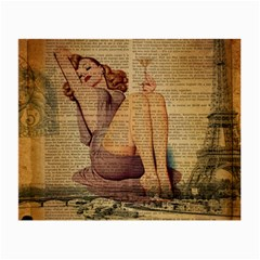 Vintage Newspaper Print Pin Up Girl Paris Eiffel Tower Glasses Cloth (small, Two Sided)