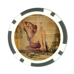 Vintage Newspaper Print Pin Up Girl Paris Eiffel Tower Poker Chip