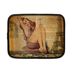 Vintage Newspaper Print Pin Up Girl Paris Eiffel Tower Netbook Case (small)