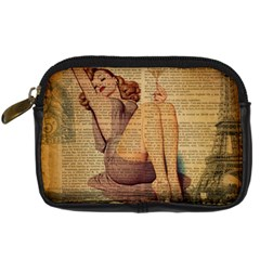 Vintage Newspaper Print Pin Up Girl Paris Eiffel Tower Digital Camera Leather Case