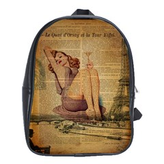 Vintage Newspaper Print Pin Up Girl Paris Eiffel Tower School Bag (Large)